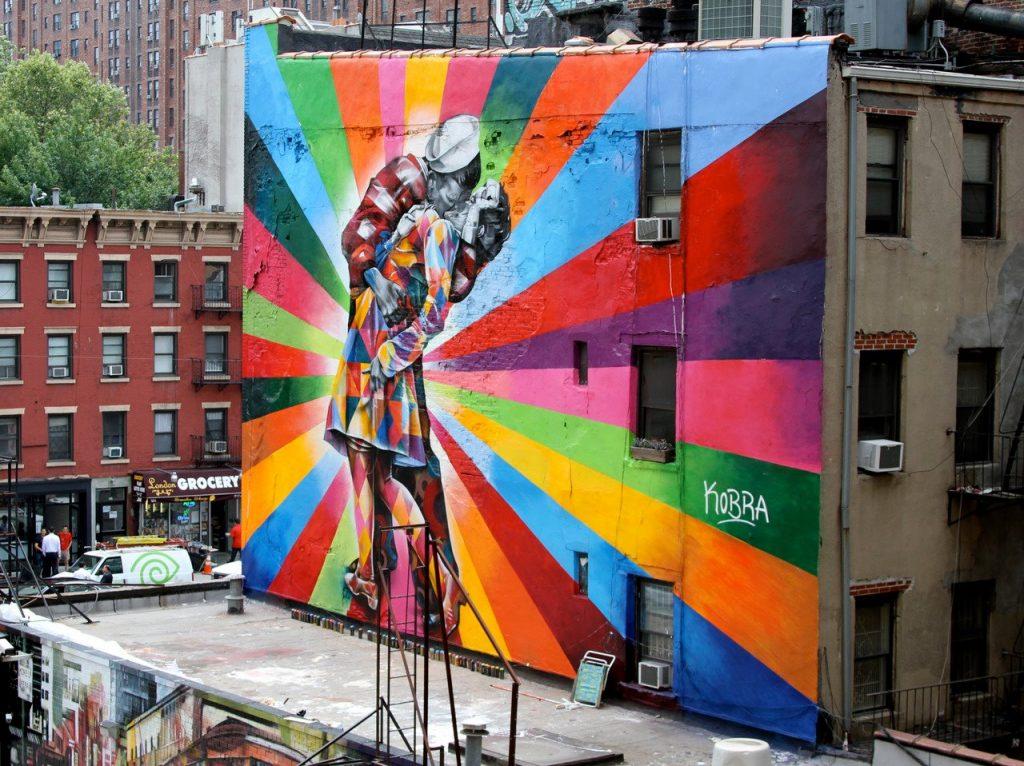Street art Kiss