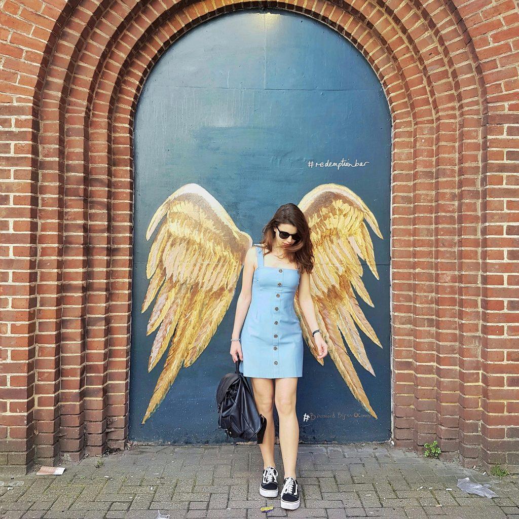 London street art wings